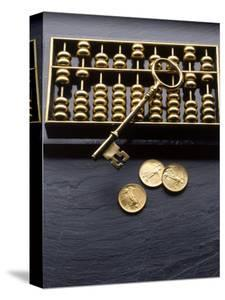 Abacus, Key and Coins by Howard Sokol