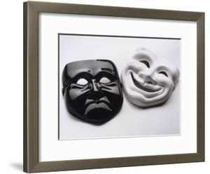 Black and White Image of Ceramic Theater Masks by Howard Sokol