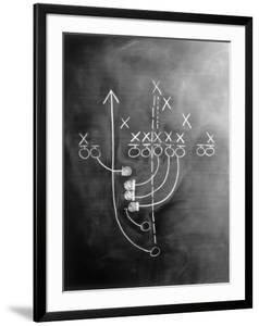 Football play on chalkboard by Howard Sokol