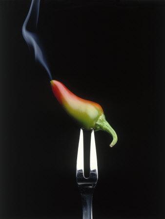 Steaming Chili Pepper on Fork