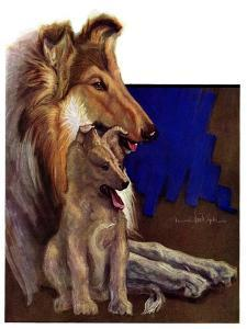 """""""Mother Collie and Pup,""""July 15, 1933 by Howard Van Dyck"""