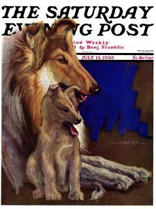 """""""Mother Collie and Pup,"""" Saturday Evening Post Cover, July 15, 1933 by Howard Van Dyck"""