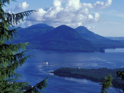 Aerial View of Boat and Annette Island near Ketchikan, Inside Passage, Alaska, USA