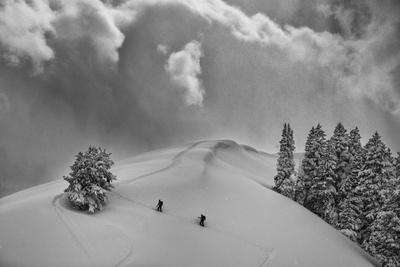 Backcountry Ski Climbers in Fresh Powder, Near Salt Lake City, Utah