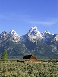 Morning Light on the Tetons and Old Barn, Grand Teton National Park, Wyoming, USA by Howie Garber