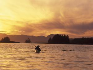 Solo Kayaker Enjoys Sunset, Ketchikan, Alaska, USA by Howie Garber