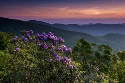 Sunset, Cowee Mountain Landscape, Blue Ridge Parkway, North Carolina by Howie Garber