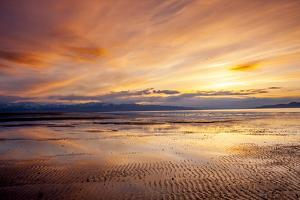 Sunset over Great Salt Lake Looking Towards Lakeside Mountains. Utah by Howie Garber