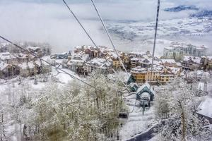 Taking the Gondola Up the Mountain at Telluride Ski Resort by Howie Garber
