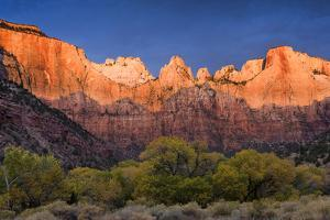 West Temple, Altar of Sacrifice, and Sundial at Sunrise, Zion NP, Utah by Howie Garber