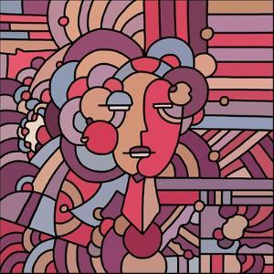 Pop Art Deco Face 116 by Howie Green