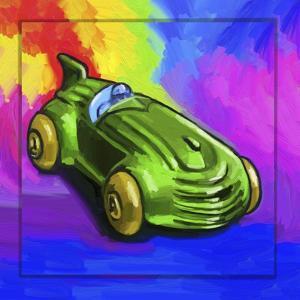 Pop-Art Deco Race Car Toy by Howie Green