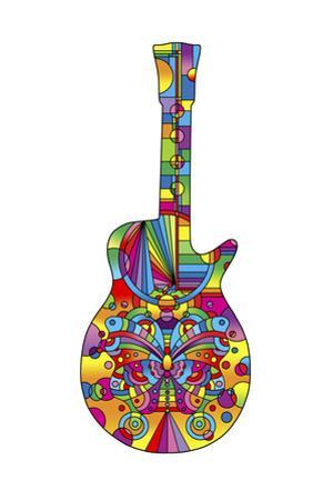 Pop Art Guitar Butterfly by Howie Green