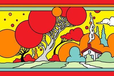 Red Tree Landscape by Howie Green