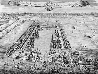 Howland Great Dock, Near Deptford, C.1715-20 (Engraving)-J. Badslade-Giclee Print