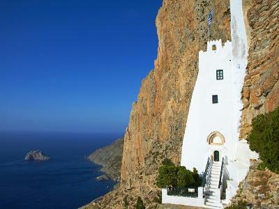 Hozoviotissa Monastery and Aegean Sea, Amorgos, Cyclades, Greek Islands, Greece, Europe-Tuul-Photographic Print
