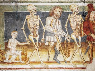 Hrastovlje Fortified Church, Trinity Church, Death Accompanying Child and Poor, Dance of Death--Giclee Print