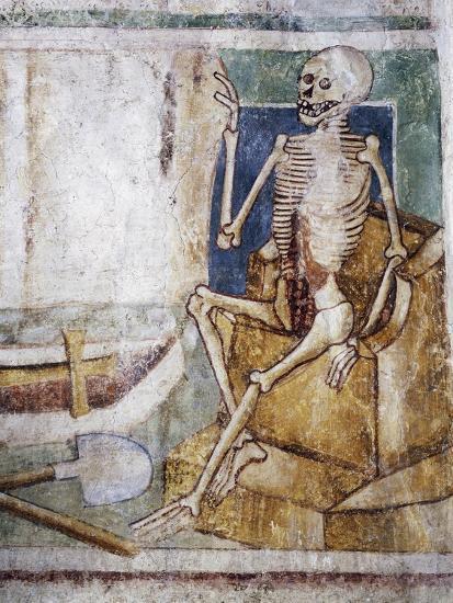 Hrastovlje Fortified Church, Trinity Church, Death Opening Slab of Tomb, Dance of Death--Giclee Print