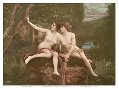 Two Beautiful Nude Women - Classic Vintage Hand-Colored Erotic Art
