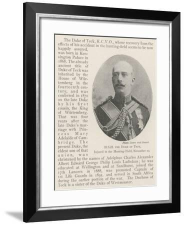 Hsh the Duke of Teck, Injured in the Hunting-Field, 29 November--Framed Giclee Print