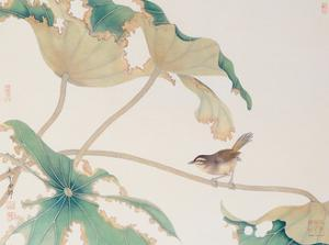Bird on Lotus Leave by Hsi-Tsun Chang