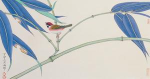 Green Bamboo and Red Bird by Hsi-Tsun Chang