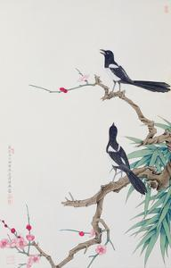 Happy Birds in Plum Tree by Hsi-Tsun Chang