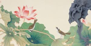 Lotus and Birds by Hsi-Tsun Chang