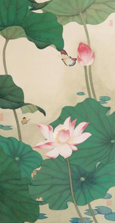 Two Butterflies and Lotuses by Hsi-Tsun Chang