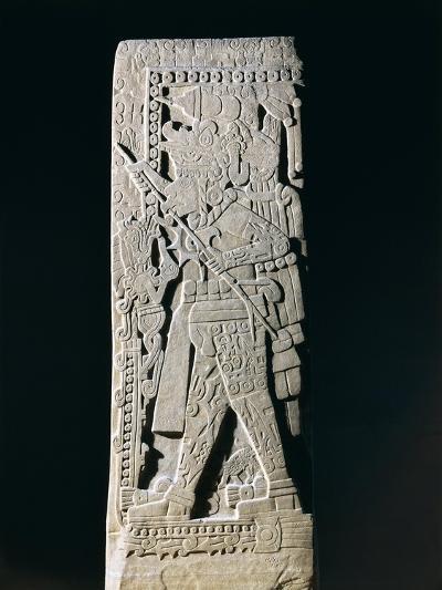 Huastec Stele Depicting Quetzacoatl Priest Sacrificing Himself, from Huilozintla, Veracruz, Mexico--Giclee Print