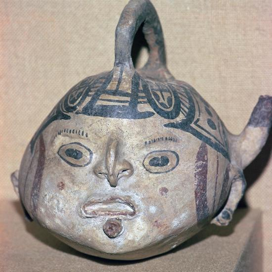 Huaxtec culture spouted jug painted with a human face-Unknown-Giclee Print