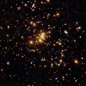 Hubble Finds a Dark Matter Ring (Blue Shapes) in a Galaxy Cluster on May 15, 2007