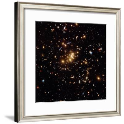 Hubble Finds a Dark Matter Ring (Blue Shapes) in a Galaxy Cluster on May 15, 2007--Framed Photographic Print