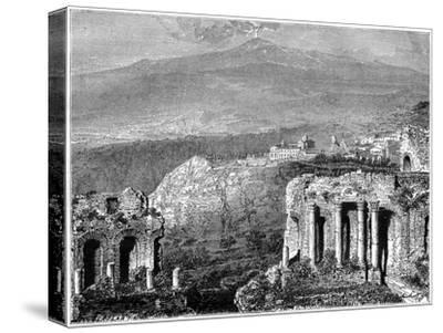 Mount Etna and a View of Taormina, Sicily, Italy, 19th Century