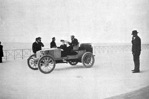 Hubert Le Blon, in His Gardner-Serpollet Steam Car, Nice, 1903