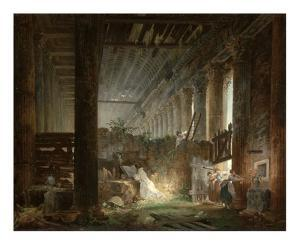 A Hermit Praying in the Ruins of a Roman Temple by Hubert Robert