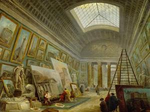 A Museum Gallery of Roman Art by Hubert Robert