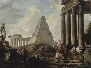 Alexandre le Grand devant le tombeau d'Achille by Hubert Robert