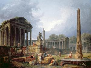 Architectural Capriccio with Obelisk, 1768 by Hubert Robert
