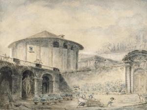 Dans le jardin de la Villa Roberti, au pied du temple de Vesta by Hubert Robert