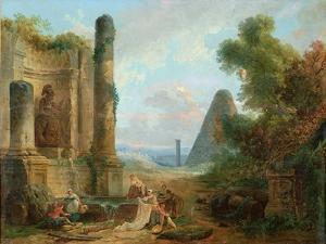 Fountain of Minerva, Rome, 1772 by Hubert Robert