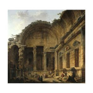 Interior of the Temple of Diana at Nimes. 1786 by Hubert Robert