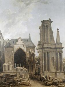 L'église des Feuillants en démolition by Hubert Robert