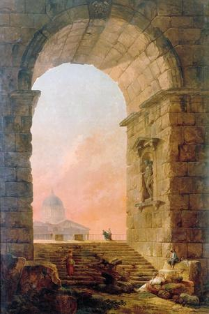 Landscape with an Arch and the St. Peter's Basilica in Rome, 1773
