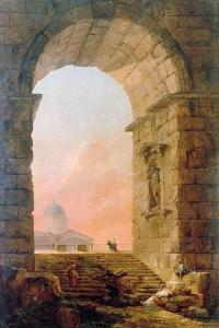 Landscape with an Arch and the St. Peter's Basilica in Rome, 1773 by Hubert Robert
