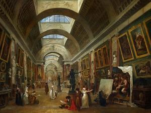 Restoring the Grande Galerie of the Louvre, 1796, on the Right, Robert Painting by Hubert Robert