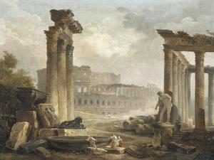 Ruines romaines avec le Colisée by Hubert Robert