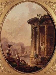 Ruines romaines avec personnages by Hubert Robert
