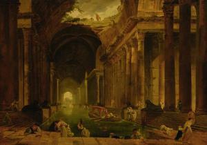 The Baths by Hubert Robert