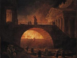 The Fire of Rome, 18 July 64 AD by Hubert Robert